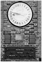 Shepherd 24-hour gate clock, and public standard of length, Royal Observatory. Greenwich, London, England, United Kingdom ( black and white)