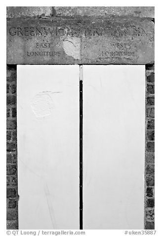 Greenwich meridian, or Prime meridian, the basis of Longitude, Royal Observatory. Greenwich, London, England, United Kingdom (black and white)