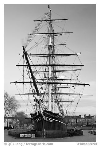 Cutty Sark with wind blowing upon flags. Greenwich, London, England, United Kingdom (black and white)