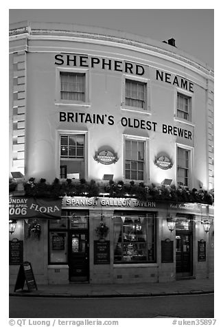 Spanish Galleon Tavern and  Shepherd Neame brewer, Britain's oldest. Greenwich, London, England, United Kingdom (black and white)