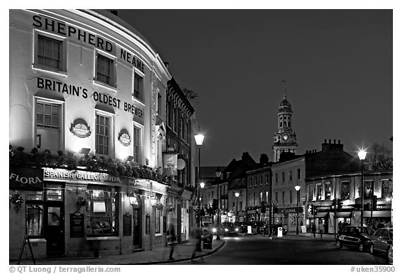 Black And White Picture Photo Tavern Street Church At Night Greenwich London England United Kingdom