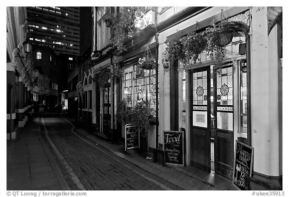 Black And White Picture Photo Saloon Bar Cobblestone Alley At Night London England United Kingdom