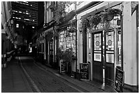 Saloon bar and cobblestone alley at night. London, England, United Kingdom (black and white)