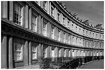Georgian facades of townhouses on the Royal Circus. Bath, Somerset, England, United Kingdom (black and white)