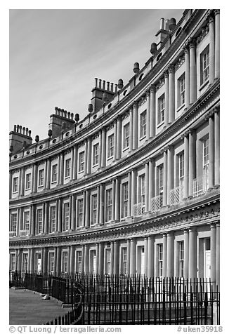 Indentical curved facades with three orders of architecture on each floor, the Royal Circus. Bath, Somerset, England, United Kingdom (black and white)