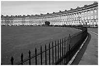 Fence, lawn, and Royal Crescent. Bath, Somerset, England, United Kingdom ( black and white)