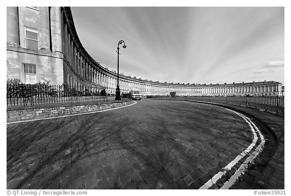 Wide view showing the whole Royal Crescent terrace. Bath, Somerset, England, United Kingdom (black and white)