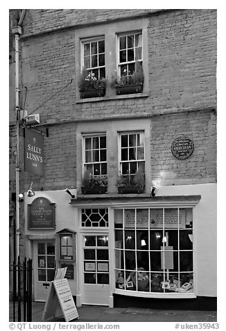 Facade of Sally Lunn House, oldest in Bath (1882). Bath, Somerset, England, United Kingdom (black and white)