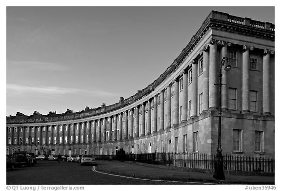 Royal Crescent, sunset. Bath, Somerset, England, United Kingdom (black and white)