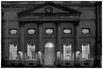 Pump Room at dusk. Bath, Somerset, England, United Kingdom (black and white)