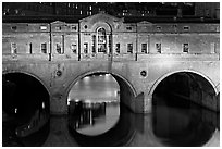 Palladian-style  Pulteney Bridge at night. Bath, Somerset, England, United Kingdom (black and white)