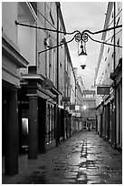 Narrow alley at dawn. Bath, Somerset, England, United Kingdom (black and white)