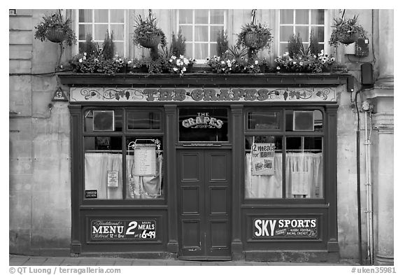 Facade of small restaurant. Bath, Somerset, England, United Kingdom (black and white)