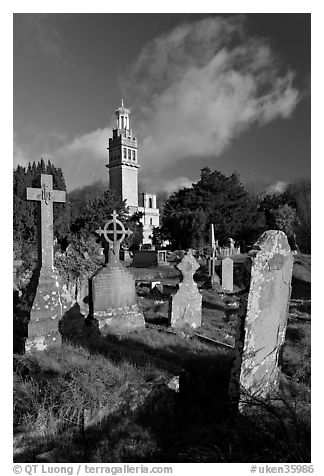 Black and white picture photo victorian cemetery and beckford tower bath somerset england united kingdom