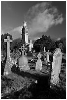 Victorian cemetery and Beckford tower. Bath, Somerset, England, United Kingdom (black and white)