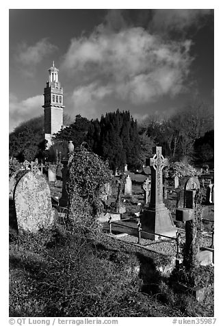 Old tombs in cemetery next to Beckford tower. Bath, Somerset, England, United Kingdom (black and white)