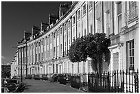Georgian terraces of Lansdown Crescent. Bath, Somerset, England, United Kingdom (black and white)