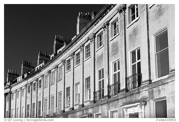 Detail of the Lansdown Crescent Crescent townhouses. Bath, Somerset, England, United Kingdom (black and white)