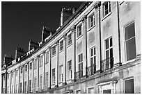 Detail of the Lansdown Crescent Crescent townhouses. Bath, Somerset, England, United Kingdom ( black and white)