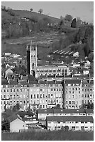 Townhouses and church. Bath, Somerset, England, United Kingdom ( black and white)