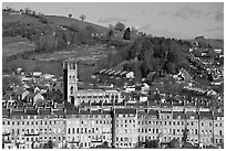 Townhouses, church and hill. Bath, Somerset, England, United Kingdom (black and white)
