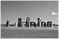 Megalithic monument, Stonehenge, Salisbury. England, United Kingdom (black and white)
