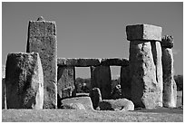 Trilithon lintels, Stonehenge, Salisbury. England, United Kingdom (black and white)