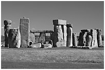 Prehistoric standing stones, Stonehenge, Salisbury. England, United Kingdom (black and white)