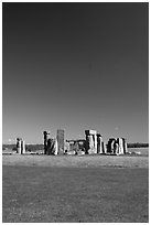 Stone circle, Stonehenge, Salisbury. England, United Kingdom (black and white)