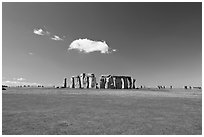 Circle of megaliths standing on the Salisbury Plain, Stonehenge, Salisbury. England, United Kingdom (black and white)