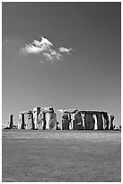 Prehistoric monument of megaliths, Stonehenge, Salisbury. England, United Kingdom (black and white)