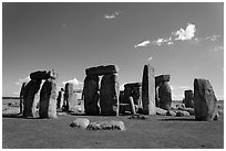 Circle with stone lintels, Stonehenge, Salisbury. England, United Kingdom (black and white)
