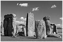 Sarsen trilithons surrounded by bluestones, Stonehenge, Salisbury. England, United Kingdom ( black and white)