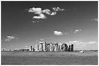 Standing stone circle, ditch and Salisbury Plain, Stonehenge, Salisbury. England, United Kingdom (black and white)