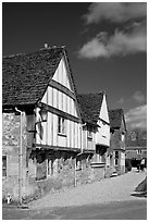 Half-timbered houses, Lacock. Wiltshire, England, United Kingdom ( black and white)