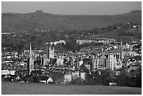 City center and hills from above, early morning. Bath, Somerset, England, United Kingdom (black and white)