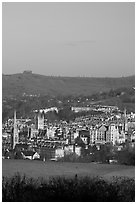 Meadow and city center. Bath, Somerset, England, United Kingdom ( black and white)