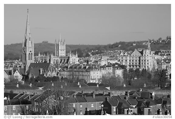 Elevated view of city center with church and abbey. Bath, Somerset, England, United Kingdom (black and white)
