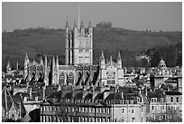 Bath Abbey rising over 18th century buildings. Bath, Somerset, England, United Kingdom ( black and white)