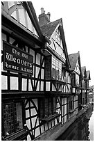 Old Weavers house dating from 1500. Canterbury,  Kent, England, United Kingdom (black and white)