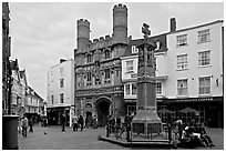 Cathedal Gate and monument. Canterbury,  Kent, England, United Kingdom (black and white)