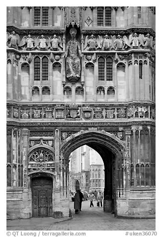 Christ Church Gate (Cathedral precincts main entrance). Canterbury,  Kent, England, United Kingdom (black and white)