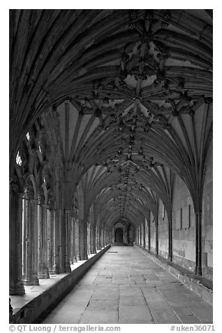 Cloister gallery, Canterbury Cathedral. Canterbury,  Kent, England, United Kingdom (black and white)