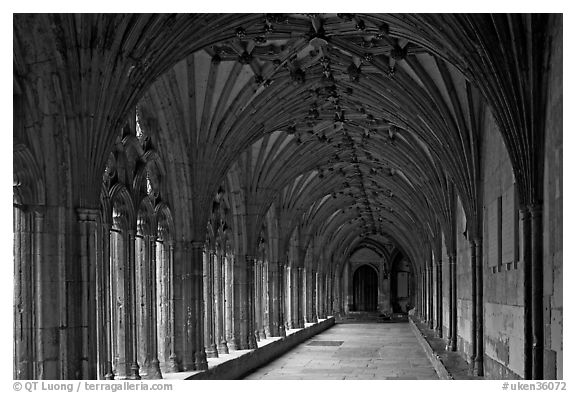 Great Cloister gallery, Canterbury Cathedral. Canterbury,  Kent, England, United Kingdom (black and white)