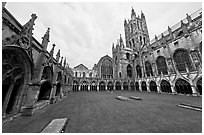 Great Cloister and Canterbury Cathedral nave and crossing spire. Canterbury,  Kent, England, United Kingdom (black and white)