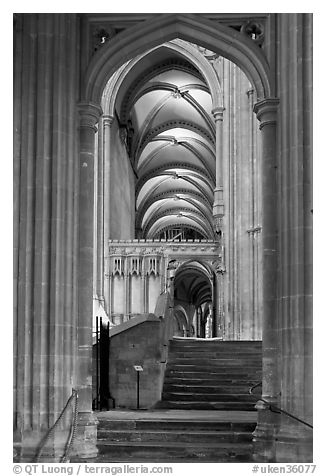 Aisle, Canterbury Cathedral. Canterbury,  Kent, England, United Kingdom (black and white)