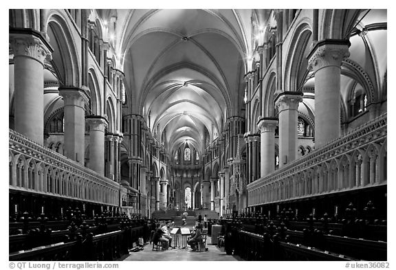 Black And White Picture Photo Quire Of Canterbury Cathedral The Longest Any English Musicans Kent England United Kingdom