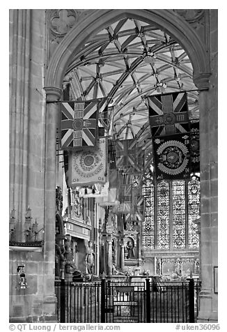 Warrior's Chapel with colours of the Princess of Wales Royal Regiment, Canterbury Cathedral. Canterbury,  Kent, England, United Kingdom (black and white)