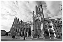 Wide view of Canterbury Cathedral from the South. Canterbury,  Kent, England, United Kingdom ( black and white)