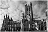 Central tower and south transept, Canterbury Cathedral. Canterbury,  Kent, England, United Kingdom ( black and white)
